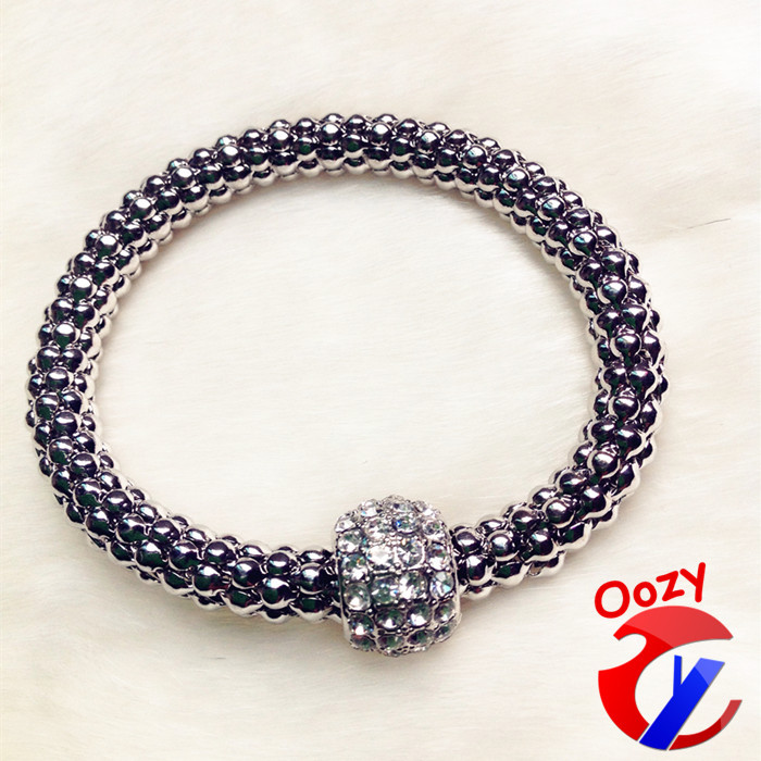 Aliexpress.com : buy z0007 three colors fashion stretch bracelets & bangles for women popcorn chain rhinestone ball charm bracelet good gift from reliable bangle manufacturers suppliers on oozy trade co. ltd.