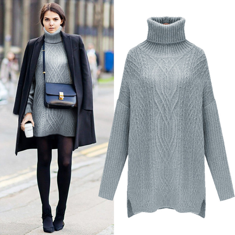 { 2 colors } turtleneck cable knit slit sweater mini dress – goodnight macaroon
