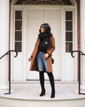 coat,tumblr,brown,brown coat,scarf,knitted scarf,denim,jeans,blue jeans,boots,black boots,over the knee boots,over the knee