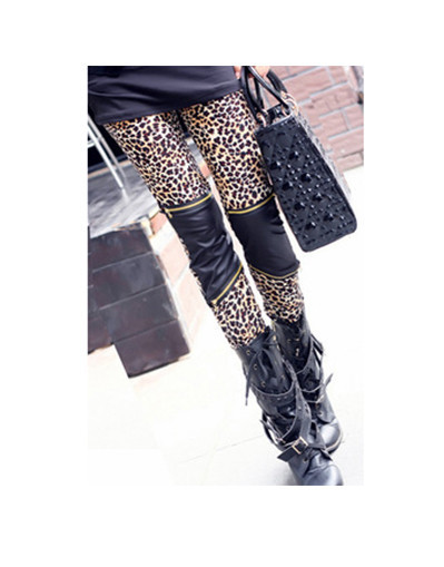 Leopard leather leggings with zipper