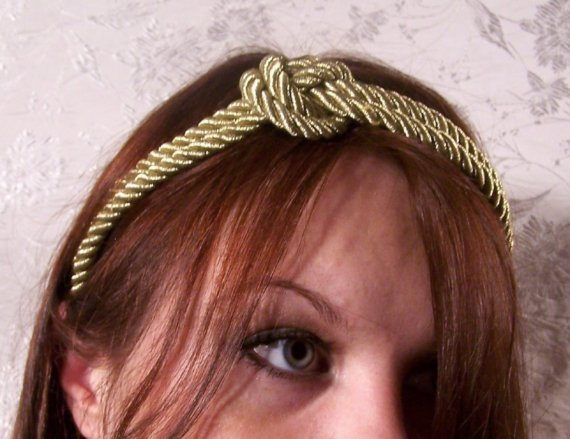Couture gold braided nautical knot headband by crboggsdesigns