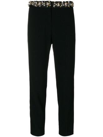 cropped women embellished black pants