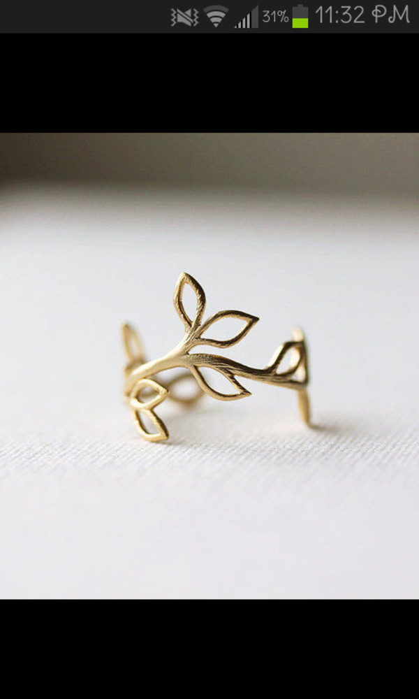 jewels ring gold leaves pretty cute