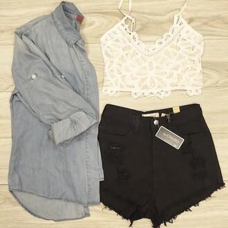 shorts chambray chambray shirt black black shorts denim lace bralette lace bralette white shirt tank top