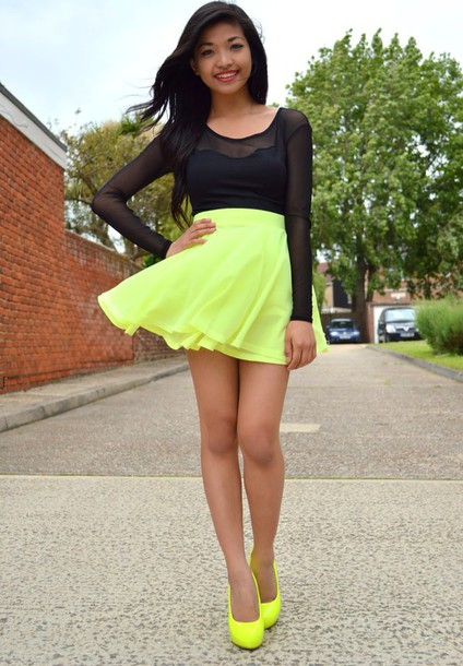 yellow flowy neon skirt