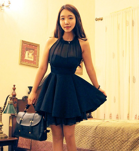 Cute Mesh Front Cute Slim Dress For Women - Black on Luulla