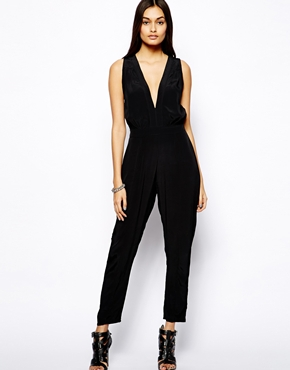 Motel | Motel Pia Jumpsuit With Plunge Neck at ASOS