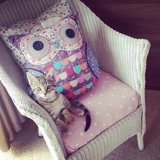 home accessory owl pillow cute homeware soft furnishing purple