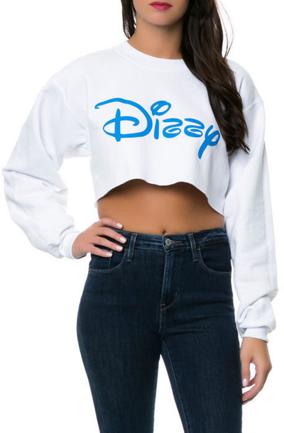 sweater shirt top crop white cute dope dizzy crop tops cropped hoodie cropped sweater white sweater t-shirt
