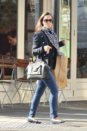 scarf flats pippa middleton denim jacket