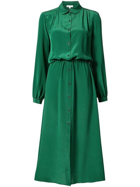 dress midi dress women midi silk green