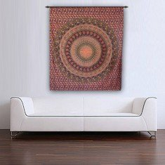 Brown Colored Elephant Printed Hippie Mandala Tapestry