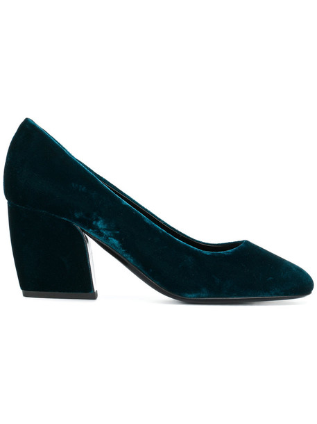 Pierre Hardy heel women pumps leather blue velvet shoes