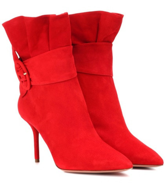 Aquazzura Palace 85 suede ankle boots in red