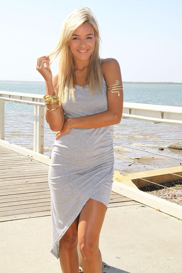 Gray asymmetrical wrap maxi dress