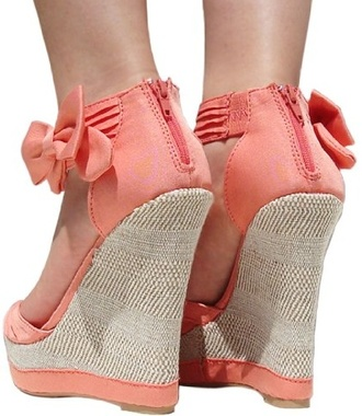 shoes bow coral wedges wedge sandals