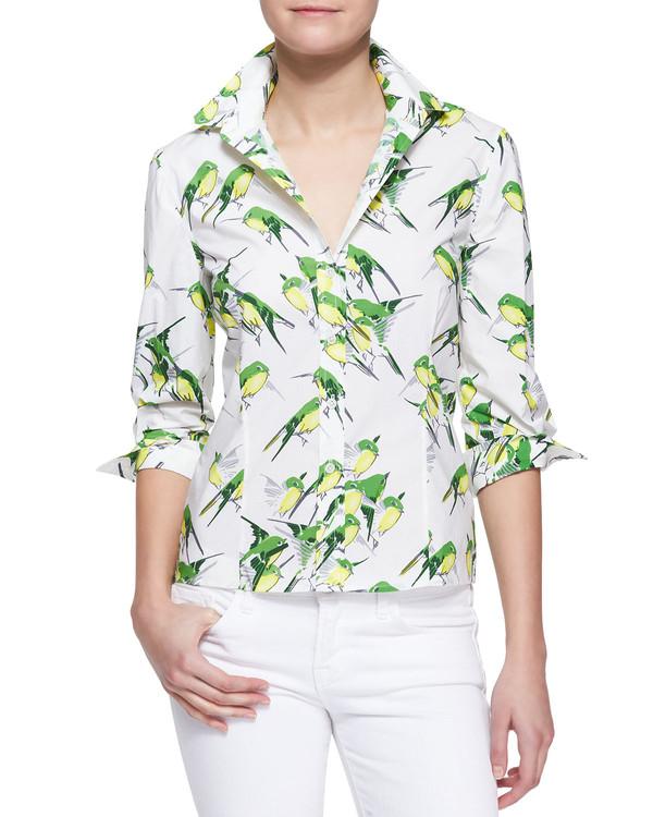 56203576 blouse birds printed button-down blouse bird print birds carolina herrera  button-down blouse.