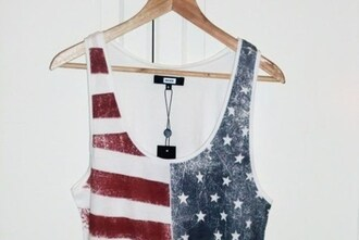 tank top american flag print urban fashion cool style faded