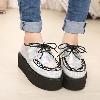 shoes creepers holographic holographic shoes