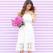 dress,white dress,lace dress,white lace dress,white lace dresses,off the shoulder,long dress,midi dress,blogger,top blogger lifestyle,escloset
