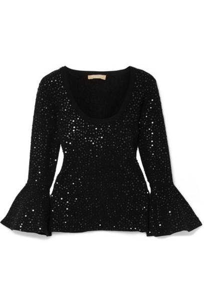 Michael Kors Collection top embellished black knit