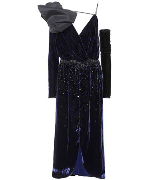 Johanna Ortiz dress velvet dress embellished velvet blue