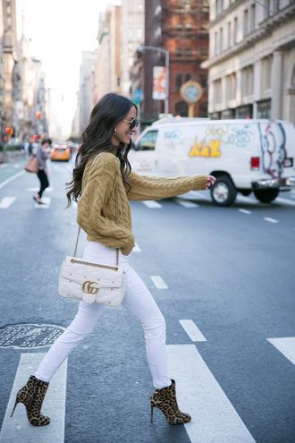 sweater tumblr mustard mustard sweater cable knit denim jeans white jeans boots ankle boots bag white bag