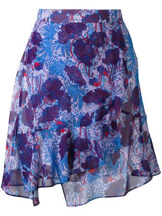 skirt wrap skirt women blue silk