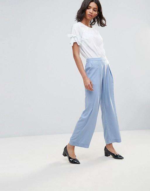 Neon Rose Crepe Wide Leg Trousers at asos.com