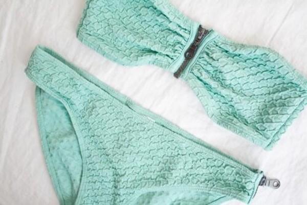 swimwear teal teal swimsuit zipper bikini bandeau blue swimwear zip