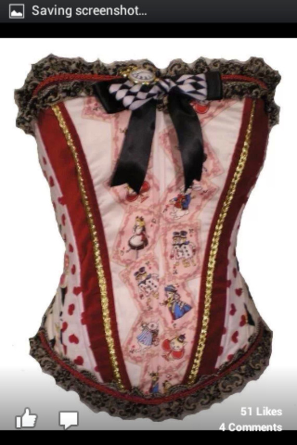 alice in wonderland corset top red black and white blouse