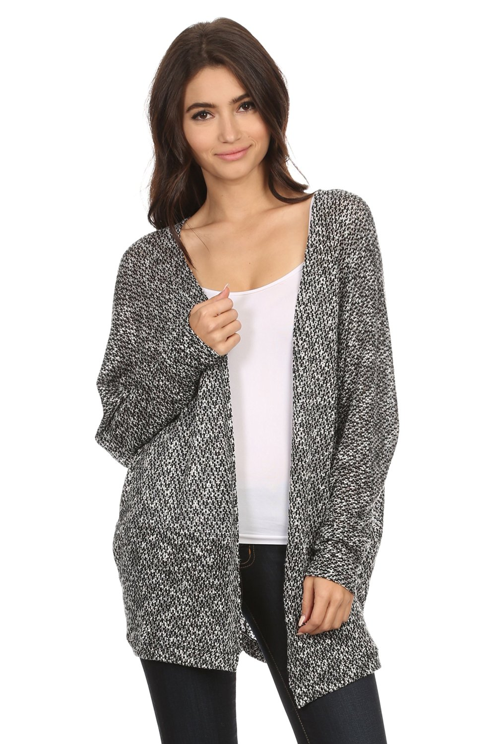 A D Womens Sweater Knit Cardigan W Open Front At Amazon Womens