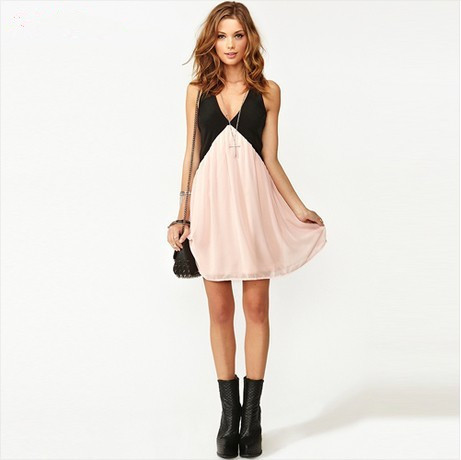 Women Sexy Patchwork Back Hollow out Deep V-neck Sleeveless Chiffon Dress Vest Dress