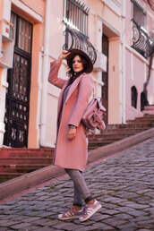 the bow-tie,blogger,coat,sweater,hat,jeans,pink coat,backpack,sneakers,adidas,spring outfits