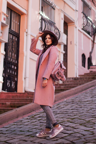 the bow-tie blogger coat sweater hat jeans pink coat backpack sneakers adidas spring outfits