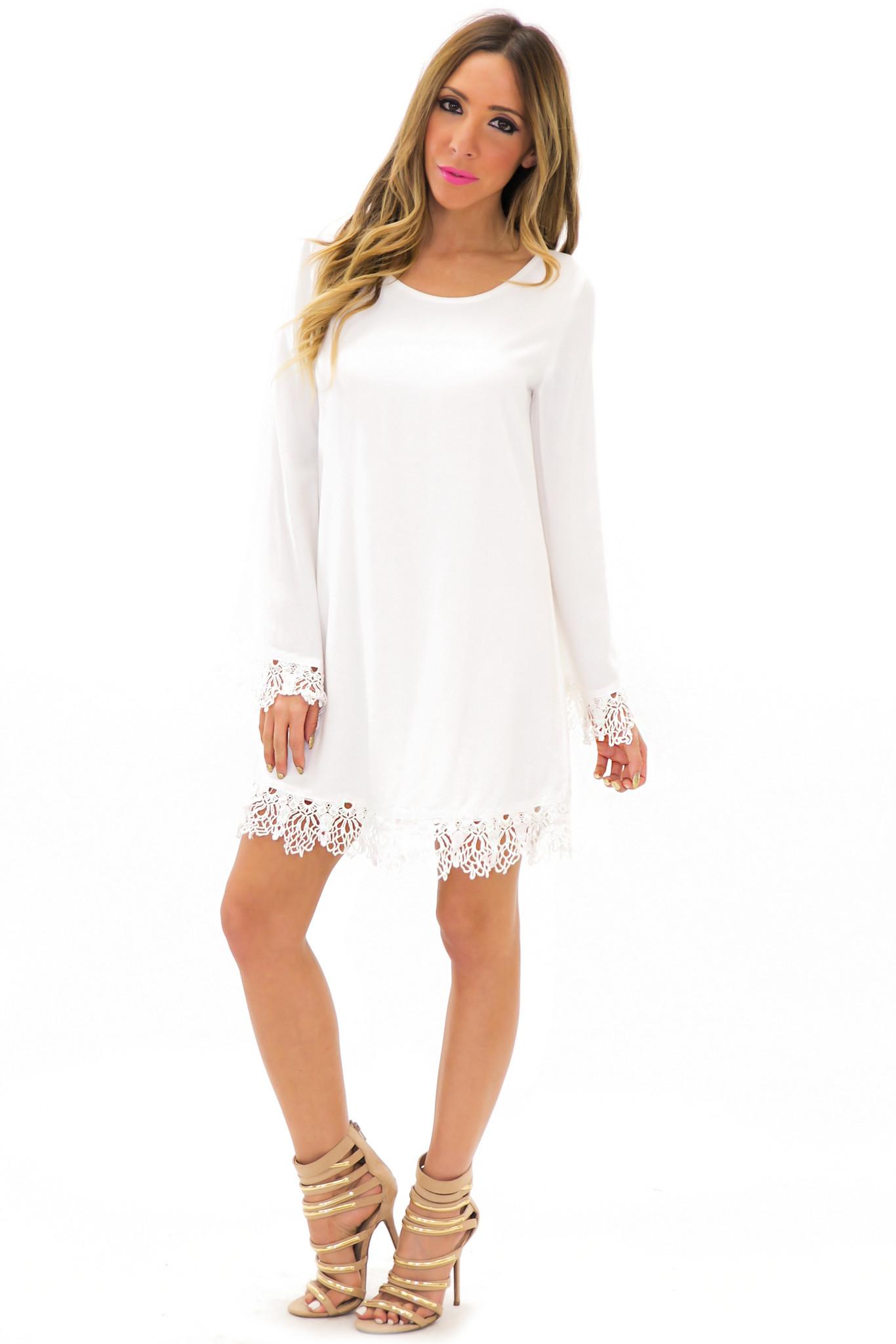 Ela contrast lace bell sleeve dress