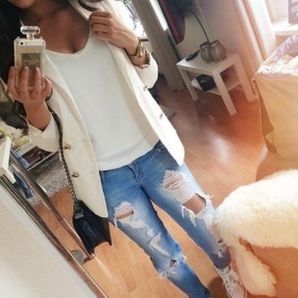 jeans distressed jeans boyfriend jeans distressed boyfriend jeans white blazer blazers cute jeans cute blazers phone case