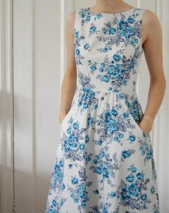 dress blue flowers a line dress spring summer fashion