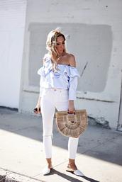 top,tumblr,blue top,stripes,striped top,bag,basket bag,denim,jeans,white jeans,skinny jeans,shoes,flats