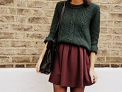 sweater,skirt,sweat,pretty,forest green,huntergreen,burgundy,fall sweater,fall outfits,cozy,purple,clothes,winter outfits,cute,preppy,back to school,skater skirt,knitted sweater,oversized,green,red dress,red skater skirt,rouge dress,rouge,shirt