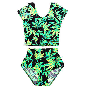 New 2 Piece 420 Pot Leaf Weed Plant Smoke Swim One Piece Supreme Milk Obey Cute | eBay