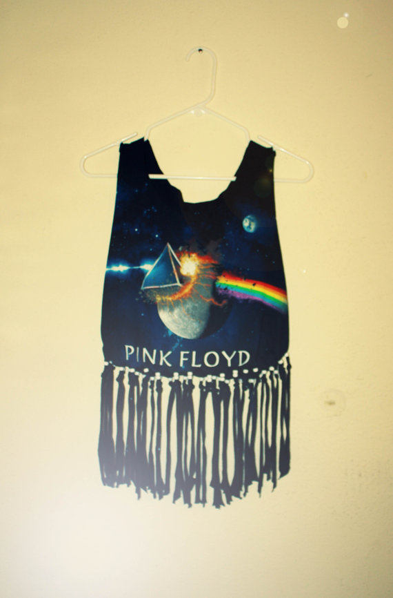 Pink floyd fringe / beaded t shirt / cropped tank by retrotimbre