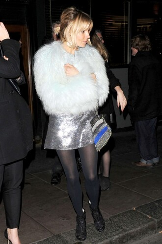 skirt sequins sienna miller fur coat silver