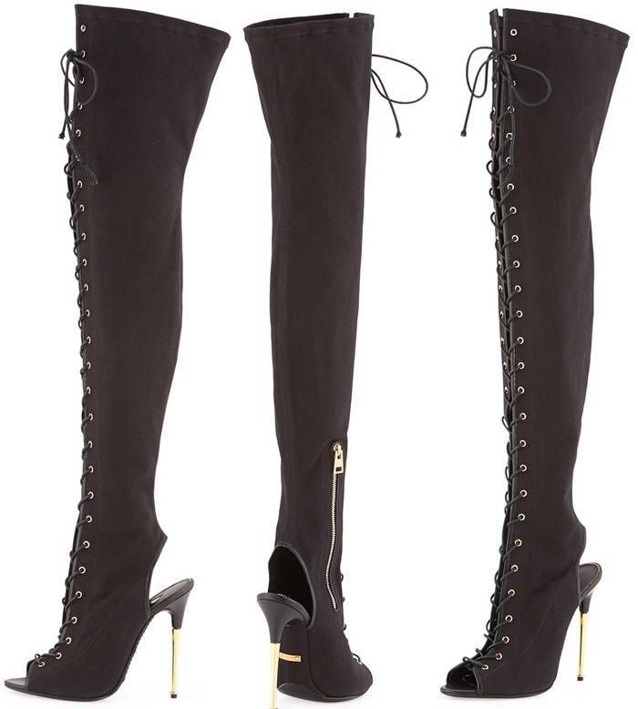 050b6c2846a98 Auth New $2450 Tom Ford Black Canvas Over The Knee Lace Up Boots Gladiator  38.5