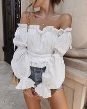 top,white top,shorts,denimd,denim shorts,bag,necklace,off the shoulder,off the shoulder top