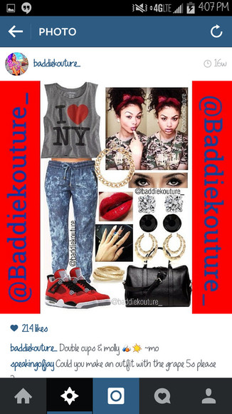t-shirt ny outfit outfit idea blaaaze baddiekouture_ grey bag jewels