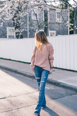 prosecco and plaid blogger sweater jeans bag jewels shoes