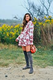 to be bright,blogger,dress,blouse,shoes,bag,over the knee,grey boots,red bag,spring outfits,fall outfits