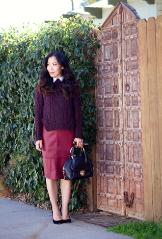 hallie daily blogger bag shoes plum cable knit pencil skirt office outfits sweater preppy burgundy