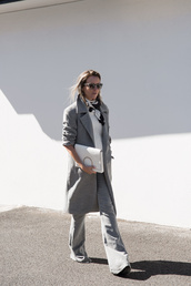 oracle fox,blogger,coat,pants,shirt,scarf,bag,sunglasses